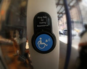 Wheelchair sign assistance button